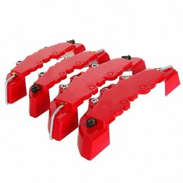 ABS пластик Truck 3D Красный Полезное автомобилей Универсальный диск Тормозной суппорт Охватывает Передний Задний Авто Универсальный комплект Xptp # на Распродаже