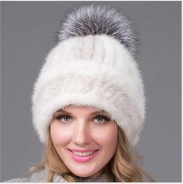 white russian hat 2021 - Knitted Hat Russian Fur Beanies Caps Stripped Fashion Luxury Real Hair Top Casual Natural Mink Hats Winter Warm