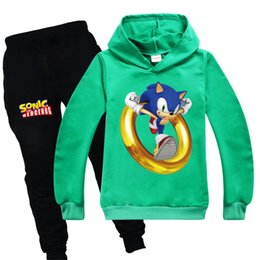 Teen Kids Tracksuit Sonic The Hedgehog Hoodies and Sweat Pantalon pour Toddler Boy Girl Jogger Ensembles Sweat-shirt Vert Rouge