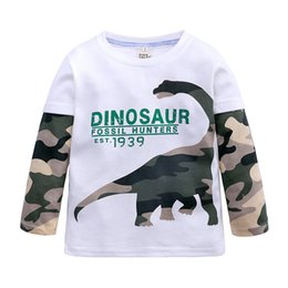 Wholesale camouflage sleeves t shirts children resale online - Children Bottoming Shirt Autumn Toddler Baby Boys Camouflage Dinosaur Long Sleeve T shirt For Kids Casual Tops Boys Clothes Q0112