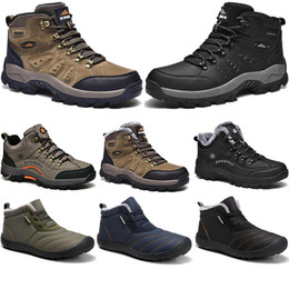 New Winter leisure sport cotton shoes Mens women platform warm and velvet padded snow Outdoor lightweight high top hiking sneaker size 39-45 on Sale