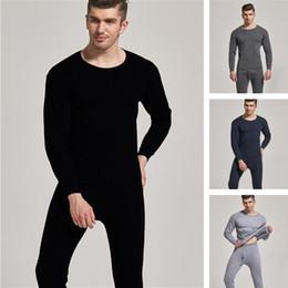 Wholesale Winter New fashion Style Men's wear Plush warm underwear set casual solid color round neck slim autumn clothes and autumn pants
