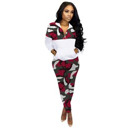 camisolas mais tamanho venda por atacado-Womens Camouflage Treino Plus Size Brasão pulôver com capuz Zipper Jacket Leggings Moda Two Piece Set Outfit Sports E101407 Suit