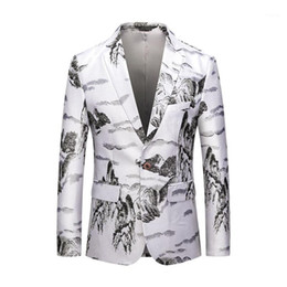 chaqueta clásica china al por mayor-Chaquetas Great Designer Men s Style Chinese Chinese Classic Landscape Pintura Blazer Masculino Slim Fit xl xl
