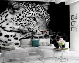 Discount tiger murals Custom 3d Animal Wallpaper Modern Mural 3d Wallpaper Ferocious Spotted Tiger 3d Wall Paper for Living Room Custom Photo