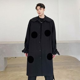 polka dot trench Canada - New Male Windbreaker Jacket Overcoat Men Polka Dot Japan Streetwear Fashion Casual Long Loose Trench Coat Outerwear