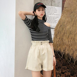 Wholesale jeans words resale online – designer Jeans shorts Women High Waist Wide legs in spring and summer new Korean Version show thin A word simple Fashion Short