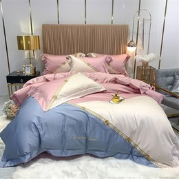 patchwork bedding UK - 4 Pieces Luxury Modern Bedroom Decor Girls Teens Pink Grey Matched Duvet Cover Bed Sheets Egyptian Cotton Bed Linen Double King