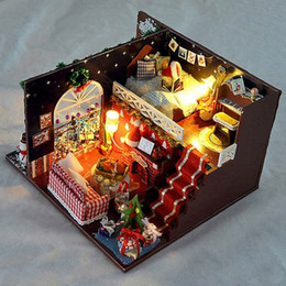 miniature christmas toys UK - Miniature Christmas Carnival Night Dollhouse DIY Wooden Dolls House With LED Light Furniture Kits DIY Gift Toys For Children Y200413