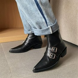 Women/'s Ankle Boots Block Heel Square Toe Chelsea Motor Biker Rhinestone Shoes