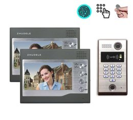 "video security camera systems NZ - ZHUDELE Fingerprint CCD Camera Video Door Phone 7"" Home Security Door Bell System for Villa 1camera+2monitors"
