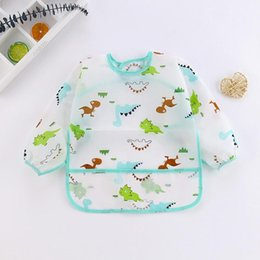 baby pocket bibs 2020 - Art Cartoon 1 6y Cloths Toddler Cute Smock Burp Waterproof Kids Baby Feeding Pocket Bib Sleeve Dinosaur Apron Long yxlZJ