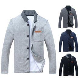 Wholesale leather sleeve cardigan for sale – winter Mens Jacket Leather Label Casual Jacket Mens Cardigan Mens Simple Coat Fashion Stand Collar Slim Jacket