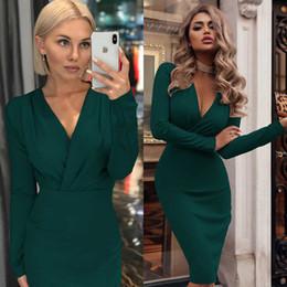 Toptan satış Günlük Kadınlar Katı Renk Elbise Moda İlkbahar Sonbahar BODYCON Elbise Yeni Geliş Bayanlar Uzun Kollu Kısa Kadın Elbise S-2XL