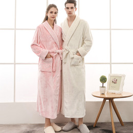 flanell bademäntel für frauen großhandel-Thermal Luxus Flanell Bademantel Frauen Männer Paare Herbst Winter Grid Plüsch Bademantel Warmer Ankleidekleid Brautjungfer Robes VTKY2228