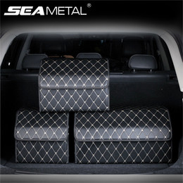 storage car trunk organizers Australia - Premium Leather Car Trunk Storage Organizer Foldable Car Storage Box with Lid Auto Bag Stowing Tidying Universal for Vehicle SUV LJ201119