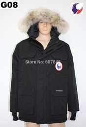 Wholesale jackets expedition resale online – Classic Men Winter degrees Overcoat Expedition Parka Goose Down Feather Jacket Real Big Coyote Fur Collar for Antarctica G08