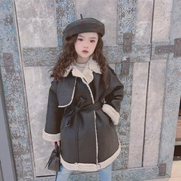 Wholesale sells leather jackets for sale – winter Hot selling children Pu leather jackets girls plus velvet long leather coats kids lambswool outerwear teenage tops ws1285