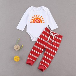 rainbow baby clothes Canada - 0-12M Newborn Kid baby Boy Girl Clothes set Long Sleeve Rainbow Bodysuit Top Striped pant suit Cute Sweet Cotton Outfit1