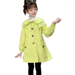 Wholesale trench coat green color resale online - 2020 Spring Fall Girls Fashion Beautiful Trench Coat Green Pink Red Color Jackets Outwear For Yrs Kids Clothes Girls Outwear1