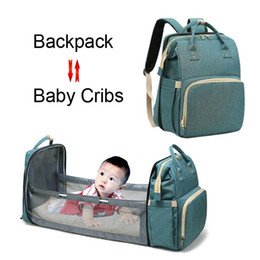 Wholesale Large Capacity Mummy Maternity Diaper Bags With Folding Bed For Baby Cribs Travel Outdoor Backpack For Mom Changing Nappy Stroller Handbag