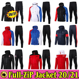 Wholesale sweat pants man for sale - Group buy Paris Full Zip Hoodie Jacket Soccer Hooded Sweat Football Real Madird Marseille Tracksuit Training Suit Winter Pants Kit