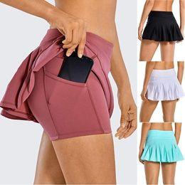 L-07 Tennis Röcke Falten Yoga Rock Gymnastik Kleidung Frauen Running Fitness Golf Hosen Shorts Sport Zurück Taille Tasche Reißverschluss im Angebot
