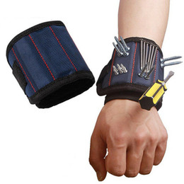 Magnetic Wristband Pocket Tool Belt Pouch Bag Screws Holder Holding Tools Magnetic bracelets Practical strong Chuck wrist Toolkit KKB2689 on Sale