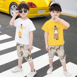 Wholesale camouflage sleeves t shirts children for sale - Group buy Hot Sale Boys Clothing Children Clothes Summer Cartoon Sets Kid Short Sleeve T Shirt Top Camouflage Pants Set Baby Sports Suit jvLG