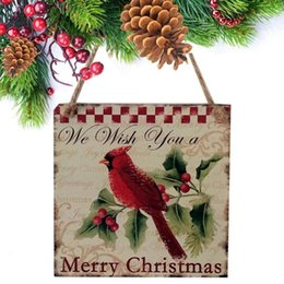 bird christmas ornament UK - Hanging Wooden Tagging Red Bird Pattern Christmas As Picture Tree Decorations1