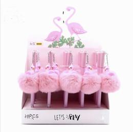 Toptan satış Pembe Flamingo Jel Kalem Güzel Peluş Swan Unicorn Domuz Kalemler Okul Yazma Kız Hediyeler Kawaii Nötr Kalemler Okul Malzemeleri Kırtasiye A5695