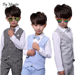 Wholesale birthday shirt for children for sale - Group buy Kids sets for Boys Formal Suits Birthday Wedding Party Dress Shirt Gentleman Waistcoat Vest Pants Korean Style Children Clothes