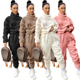 Wholesale women s thick winter leggings resale online - Women thick solid color set outfits velour hoodies pants sweatsuits high neck pullover Leggings s xl fall winter jogging suits