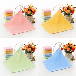 Kindergarten Face Towel Square Wiping Hands Plain Bamboo Fiber Small Square Kindergarten Wipe Face Hand Towels 25*25CM CGY174 1 N2 on Sale