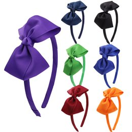 Wholesale Kids' Accessories Hair Girls' Head Pieces Bow Hairband for Girls Handmade Solid Ribbon with Satin Hoops Daily Life