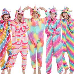 Wholesale pajama onesies adults online – ideas 2020 Winter New Flannel Soft Warm Unicorn Pajamas Children s Sleepwear Baby Homewear Kigurumi Pajama Onesies for Adult