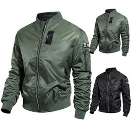 Wholesale leather jacket asian resale online – Bomber Jacket Autumn Winter Jacket Men Casual Solid Long sleeved Stand Collar Leather Coat Men s Windbreakers Asian Size