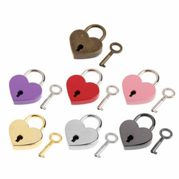 Heart Shape Padlocks Vintage Old Antique Style Mini Archaize Key Lock With key For handbag small luggage bag accessories KKB2854 on Sale