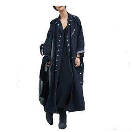 Wholesale women denim trench coat for sale - Group buy 2020 Female Overcoat Winter Autumn Trench Coats Women Trenchcoat Denim Coat Loose Jeans Long Coat Oversize Split Windbreaker