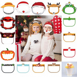 Wholesale christmas films resale online - Christmas Safety Kids Face shield Transparent Full Face Protective mask Cover Film Tool Anti fog Premium PET Material Face Shield FY8121