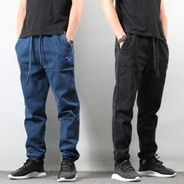 Wholesale japanese pants style for sale - Group buy Japanese Style Fashion Loose Fit Blue Color Classical Denim Pants Hombre American Streetwear Hip Hop Joggers Jeans Men