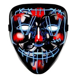 up film großhandel-Halloween LED Maske EL Draht DJ Party Light Up Glow In Dark Film Festival Partei Cosplay Payday Masken FWF1550