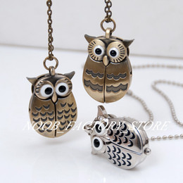 New Quartz Vintage Open and Close Owl Pocket Watch Necklace Retro Jewelry Wholesale Sweater Chain Fashion Hanging Watch Copper Color Steel on Sale