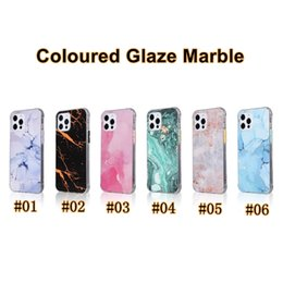 Wholesale coloured iphone resale online - High Quality TPU Soft Shell PC Back Coloured Glaze Marble Case for iPhone X Samsung A51 A71