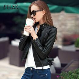 Wholesale knit sleeve faux leather jacket for sale - Group buy Streetwear Style Faux Leather Jacket Women Bike Moto Coat New Autumn Turn down Collar Zipper Ladies Fashion Pu Leather Coats LJ201021