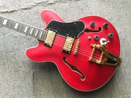 big hands guitar UK - Custom Red Electric Guitar Black Pickguard Gold B700 Big Bridge Gold Hardware China Guitars Free Shipping