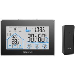 Baldl Ev LCD Hava İstasyonu Dokunmatik Düğme / Açık Sıcaklık Nem Kablosuz Sensör Higrometre Saat Dijital Termometre