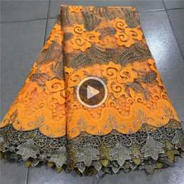 8YLE gold Nigerian La Latest African La Bridal Fabric yellow African High Qlity Rhinestones Fabric 5s Lot