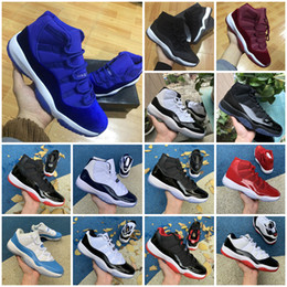 high cut New 11 Velvet Heiress red blue Grey Suede Basketball Shoes Men Spaces Jams 11S XI 13 12 4 Authentic Sports Shoes on Sale