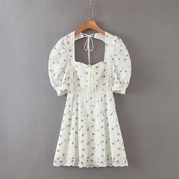 Wholesale cut out casual short dresses for sale – plus size UnoIf Spring summer embroiderybubble women s embroidery sleeve new short sleeve tight cut out heavy embroidery lace up dress X8VUq